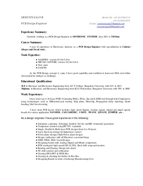 pcb design resume format pcb design engineer resume format resume ideas