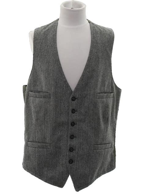 black and white pattern vest no label seventies vintage suit 70s no label mens black