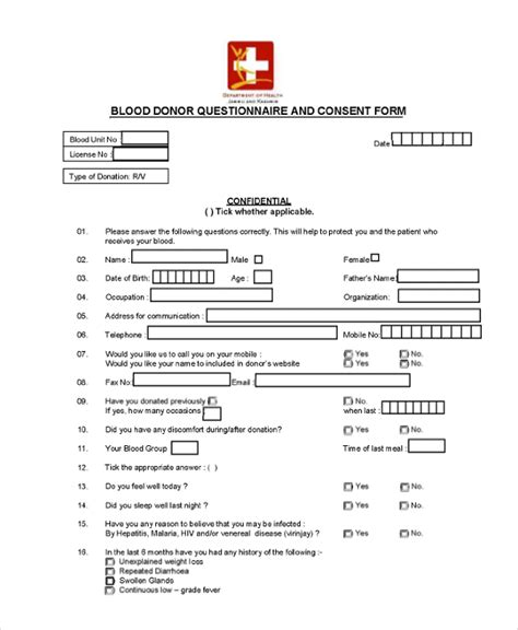 Parents Consent Letter For Blood Donation Questionnaire Consent Forms 9 Free Documents In Word Pdf