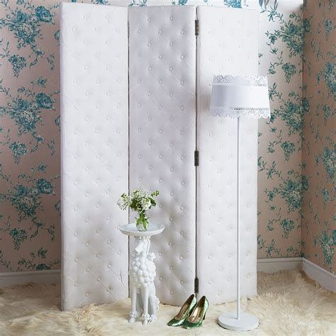 bedroom screen peek a boo studded white upholstered dressing screen