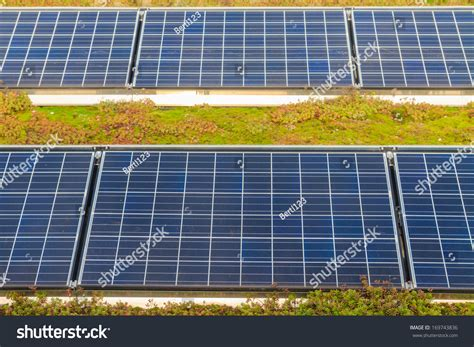 solar panels on roof with green garden stock photo