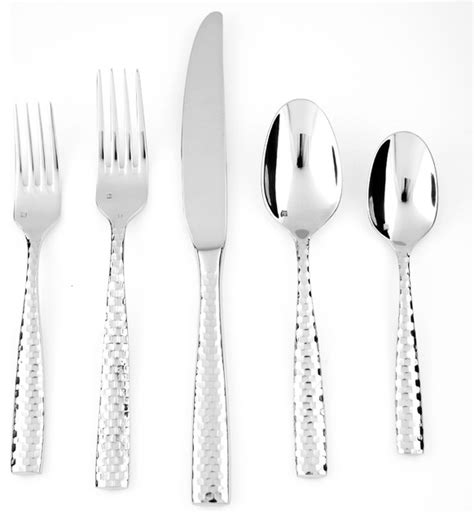 forrest 5 piece flatware set set of 4 stainless steel fortessa stainless steel lucca faceted 5 piece place