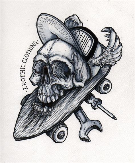 imagenes de skate para dibujar a lapiz oriol torras ilustracion proceso dibujo calavera encima