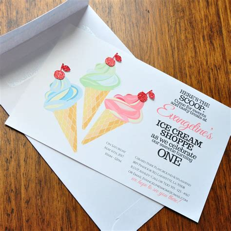 printable birthday invitations and envelopes ice cream invitation first birthday invitations with