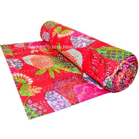 Floral Print Blanket size floral print kantha quilt blanket bedding