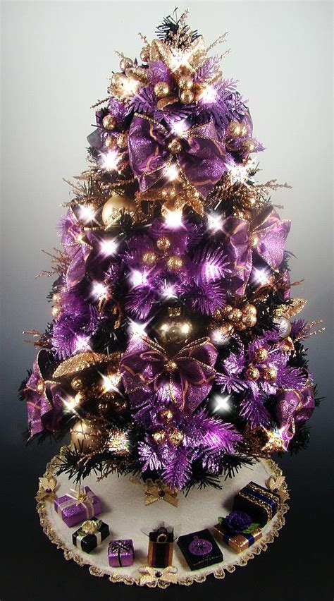 decorated mini tabletop christmas tree black purple gold