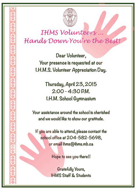 Volunteer Appreciation Reception Immaculate Heart Of Mary School Volunteer Program Template