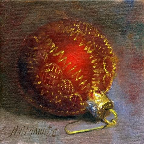 red christmas ornament 6 x6 oil on canvas original