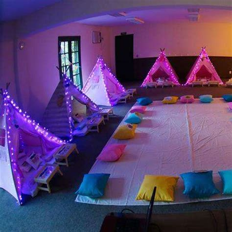 themes for a girl slumber party slumber party with light up tents bring the sparkle to