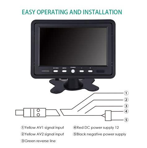but psycho screen top input portable 7 quot tft lcd 16 9 color monitor screen av input for