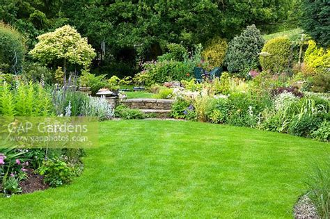 gap gardens suburban garden with curved lawn and