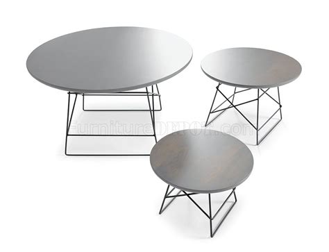 Grey Coffee Table Set by Light Grey Modern 3pc Coffee Table Set W Metal Legs