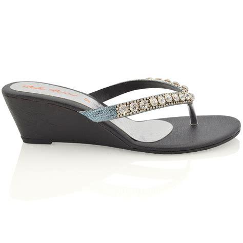 Wedge Heel Sandals womens wedge heel sandals sparkly diamante flip