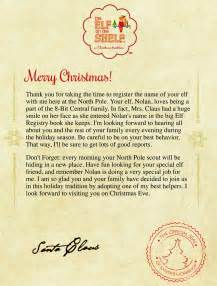 Santa On The Shelf Letter by On A Shelf Letter From Santa Letter Of Recommendation