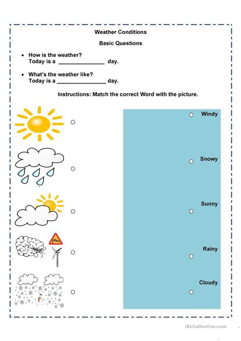 8 free esl weather conditions worksheets