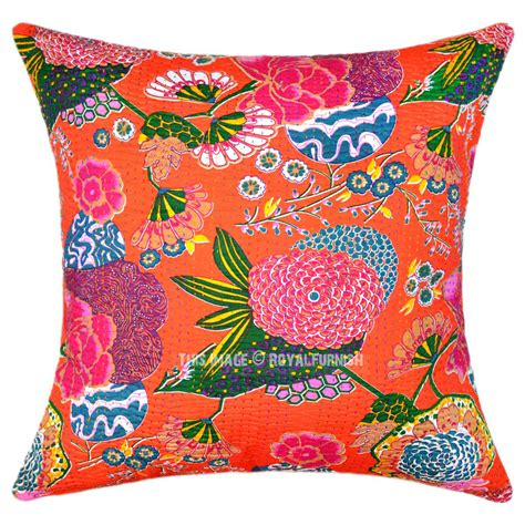 Oversized Throw Pillows Sofa 24 Quot Oversized Large Orange Tropical Kantha Sofa Throw Pillow Cover Royalfurnish