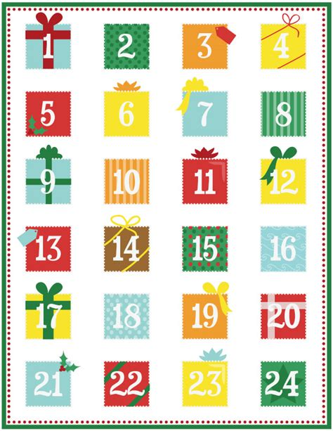free printable advent calendar template 8 best images of tin advent calendar number printable