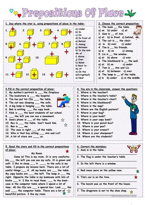 esl printable worksheets prepositions of place 200 free esl prepositions of place worksheets