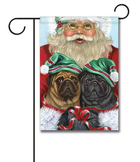 pug garden flags pug santa pet flags flagology