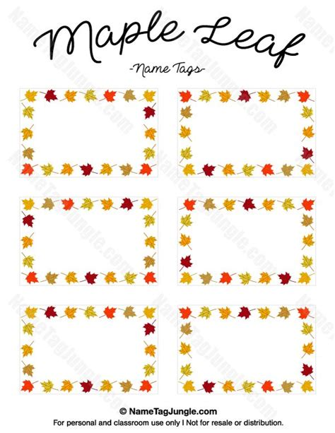 printable fall leaf tags free printable maple leaf name tags the template can also