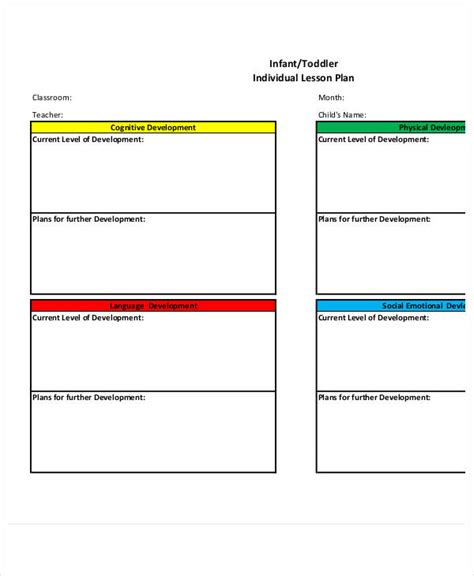 individual lesson plan template toddler lesson plan template blank preschool weekly