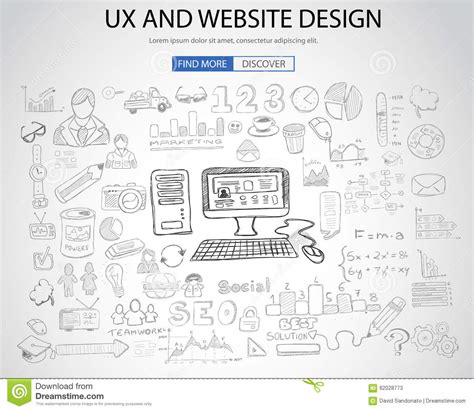 doodle free website ux website design concept with doodle design style stock
