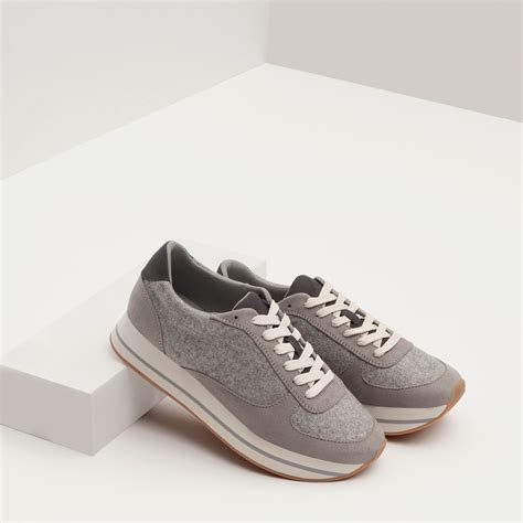 Grey Sneakers zara combined sneakers in gray lyst