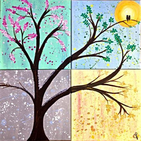 spring painting ideas four seasonstree painting 4 panel summer winter