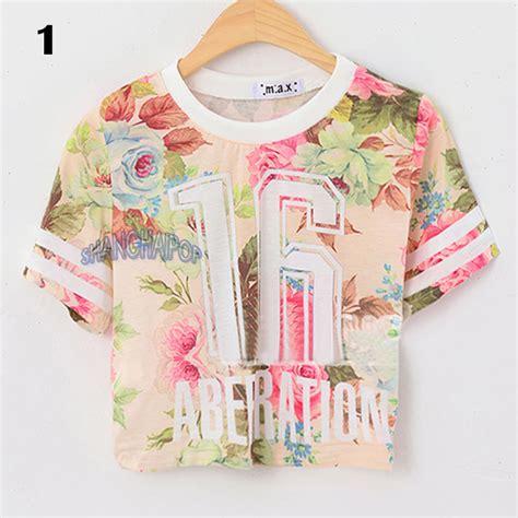 T Shirt Highest Box Flower floral crop t shirt flower number sleeve crew neck top fashion ebay