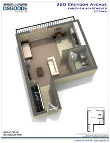 Floor Plan Of A Bachelor Flat by Rent At Lakeview Apartments In Ottawa Ontario