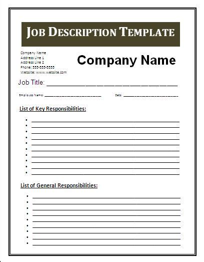 templates for job descriptions job description template free business templates