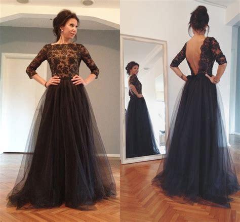 imagenes de vestidos de novia negro vestidos novia negro cuello redondo de tres cuartos
