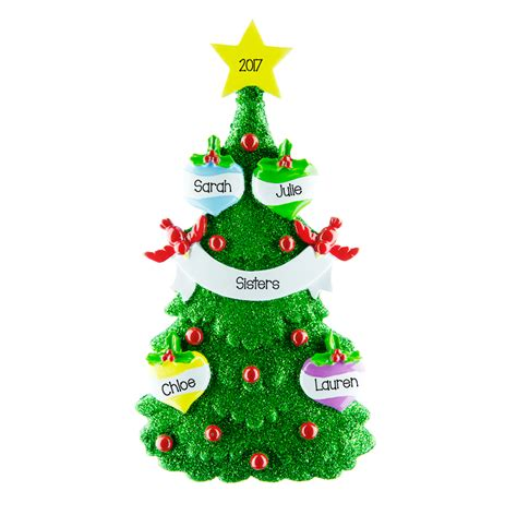 green tree 4 personalised hanging christmas decoration 36