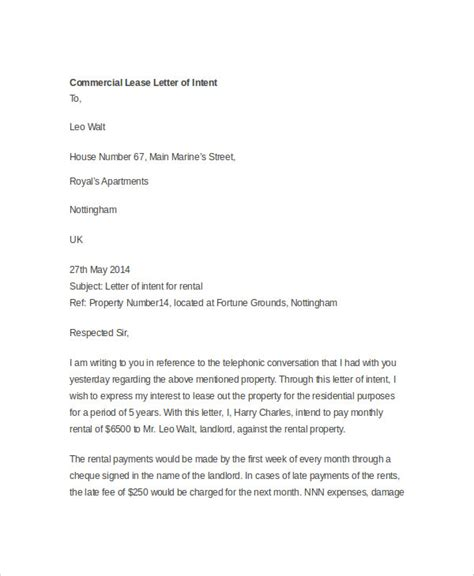 Exle Letter Of Intent Commercial Lease Letter Of Intent To Lease Commercial Space Template