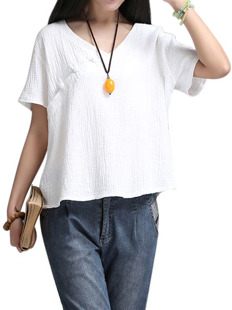 Blouse V Neck Linen sleeve v neck cotton linen blouse at