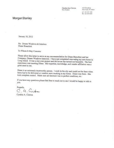 Recommendation Letter Design Letters Of Recommendation Windows Interiors Llc