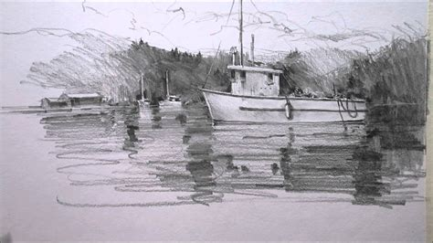 drawing of boat in water pencil drawing boat youtube