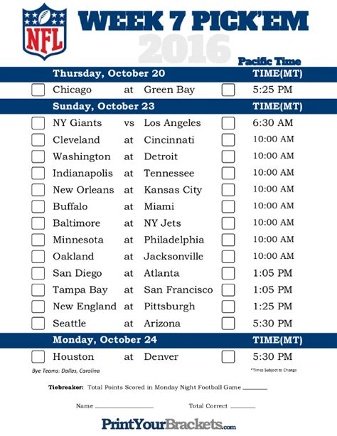 Printable Nfl Schedule For Week 7 | pacific time week 7 nfl schedule 2016 printable