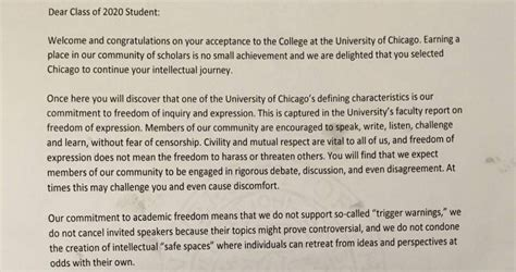 Acceptance Letter To Of Chicago Of Chicago Issues Trigger Warning About Trigger Warnings