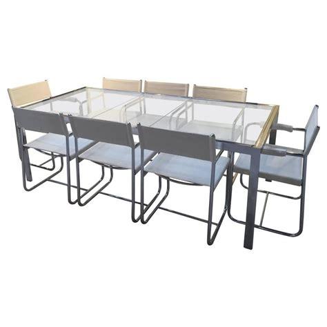Milo Baughman Polished Chrome Glass Extension Table With 8 Glass Dining Room Table With Extension