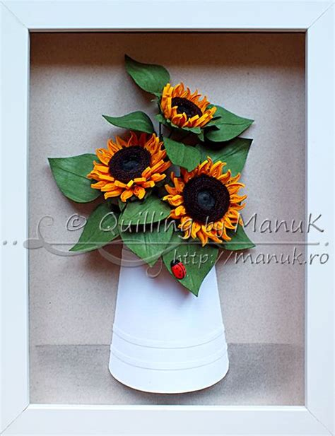 paper quilling vase tutorial quilled sunflowers in a paper vase with ladybug quilling