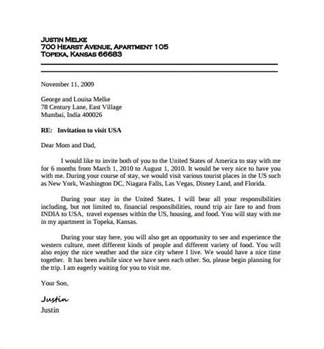 sample invitation letter visitor visa google