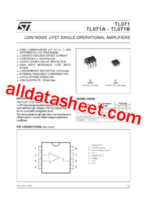 Ic Tl071 tl071 datasheet pdf stmicroelectronics