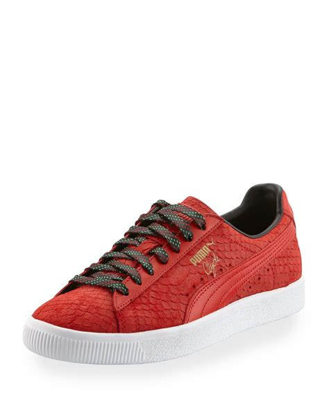 snakeskin sneakers mens s clyde gcc snakeskin embossed leather low top