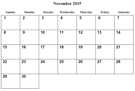 printable weekly calendar november 2015 9 best images of printable 2015 monthly calendar november