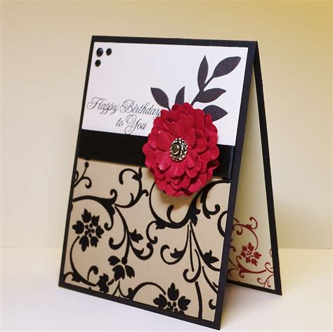 Birthday Handmade Card - classic handmade birthday card distressed flower and