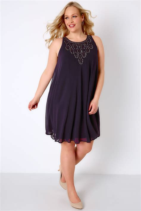 purple swing dress purple ofilia swing dress with embellished neckline plus