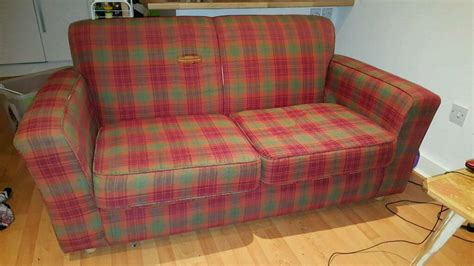 tartan chesterfield sofa brown leather wing back