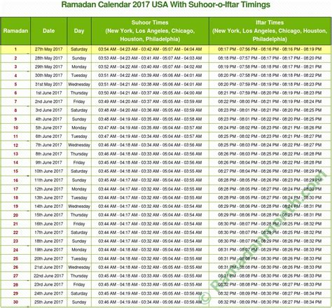 Calendar 2016 Usa Ramadan 2017 Usa Calendar Dates With Fasting Times
