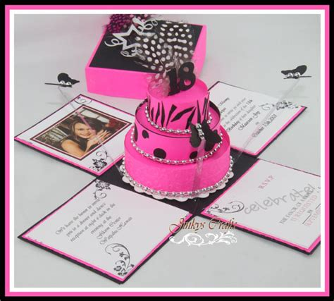 hot pink black exploding box invitations jinkys crafts